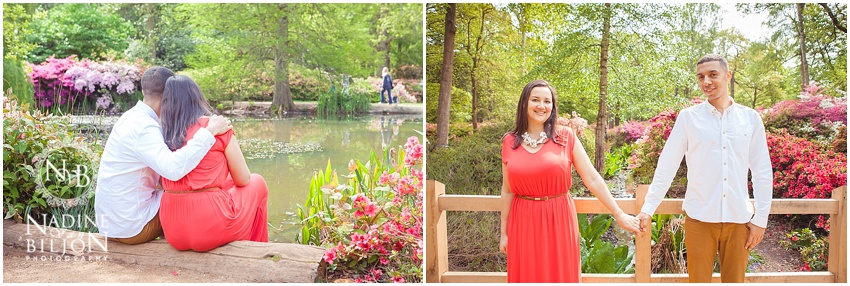Engagement shoot by the pond