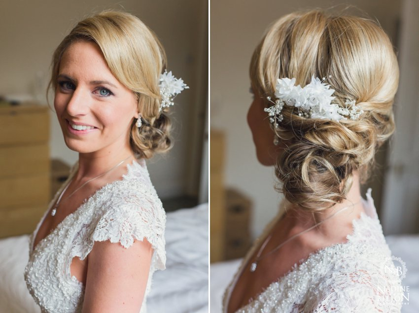Brides hair pinned to the side