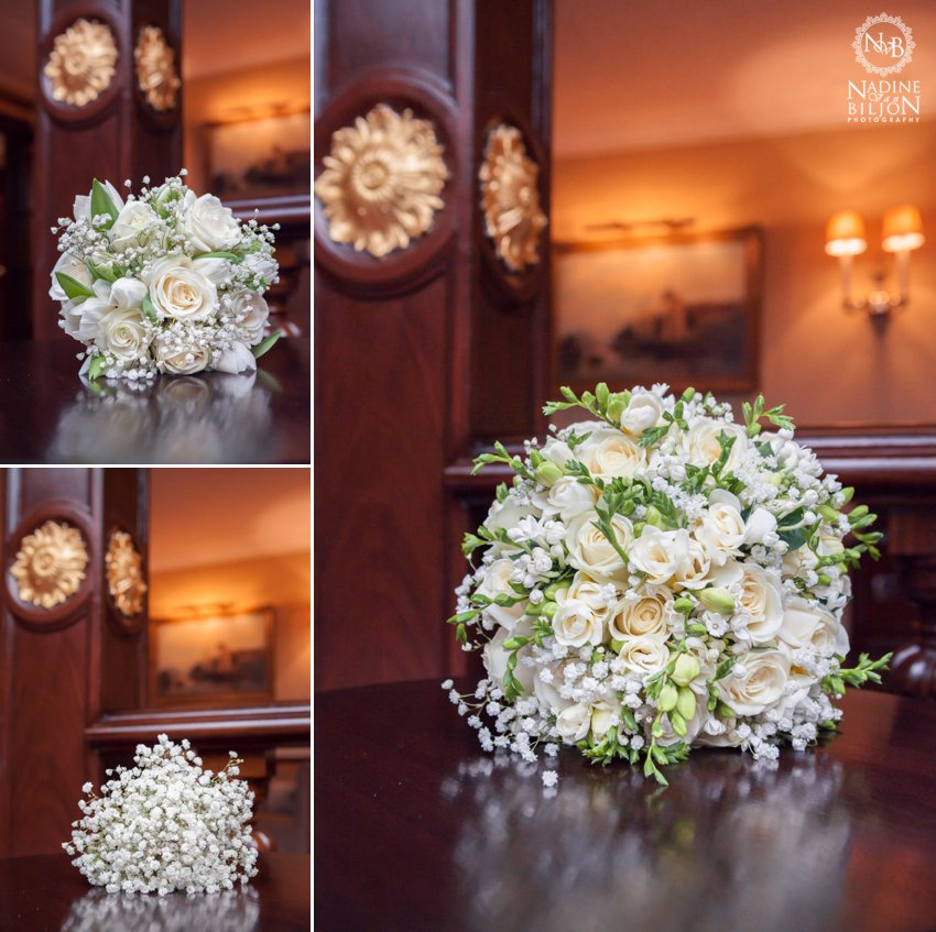 White roses and gypsophila bouquet